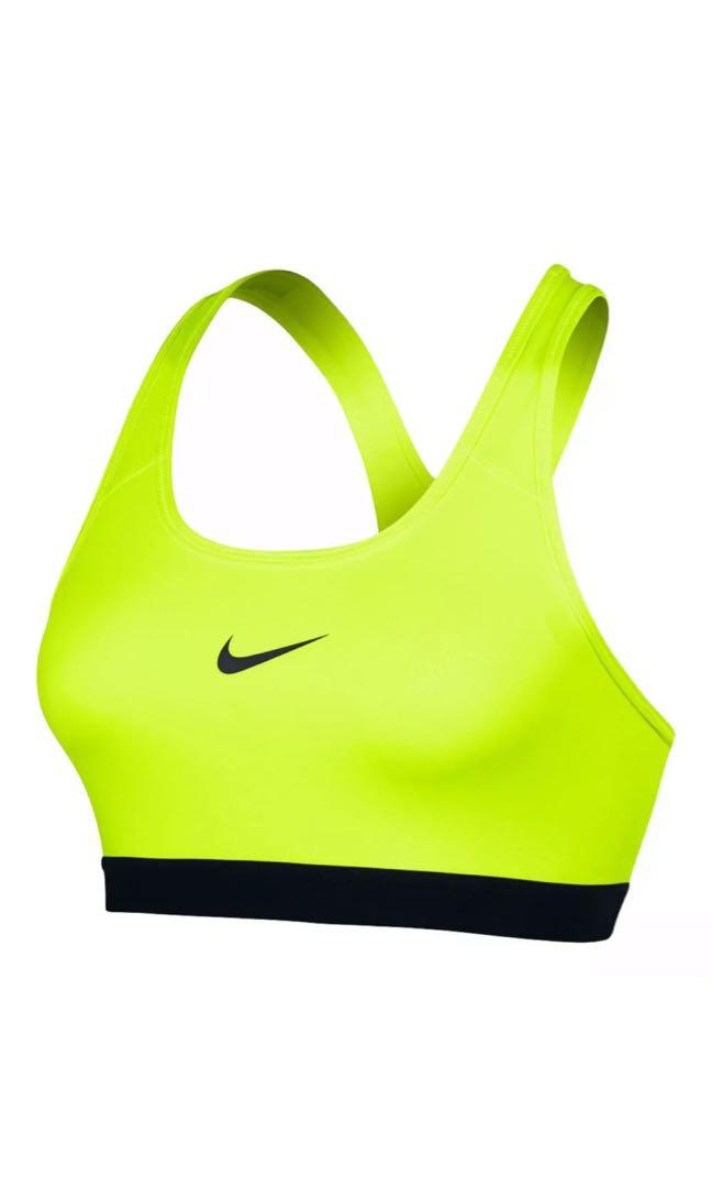 NWT NIKE PRO SIZE M 10-12 Volt/Black Sports Bra Top Gym