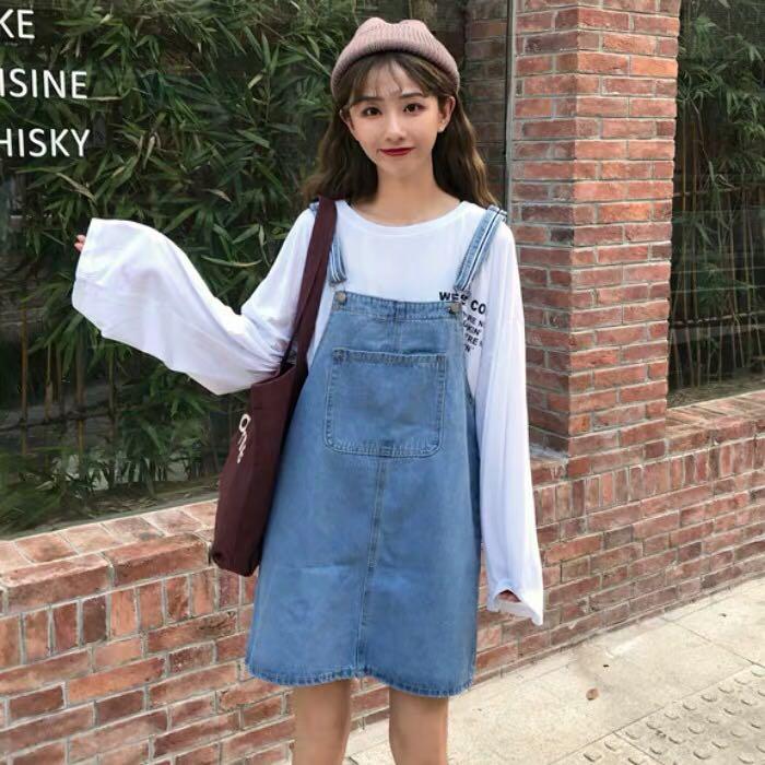 71718940ff7 PO] Denim Stripe Straps Pinafore Dress, Women's Fashion, Clothes ...