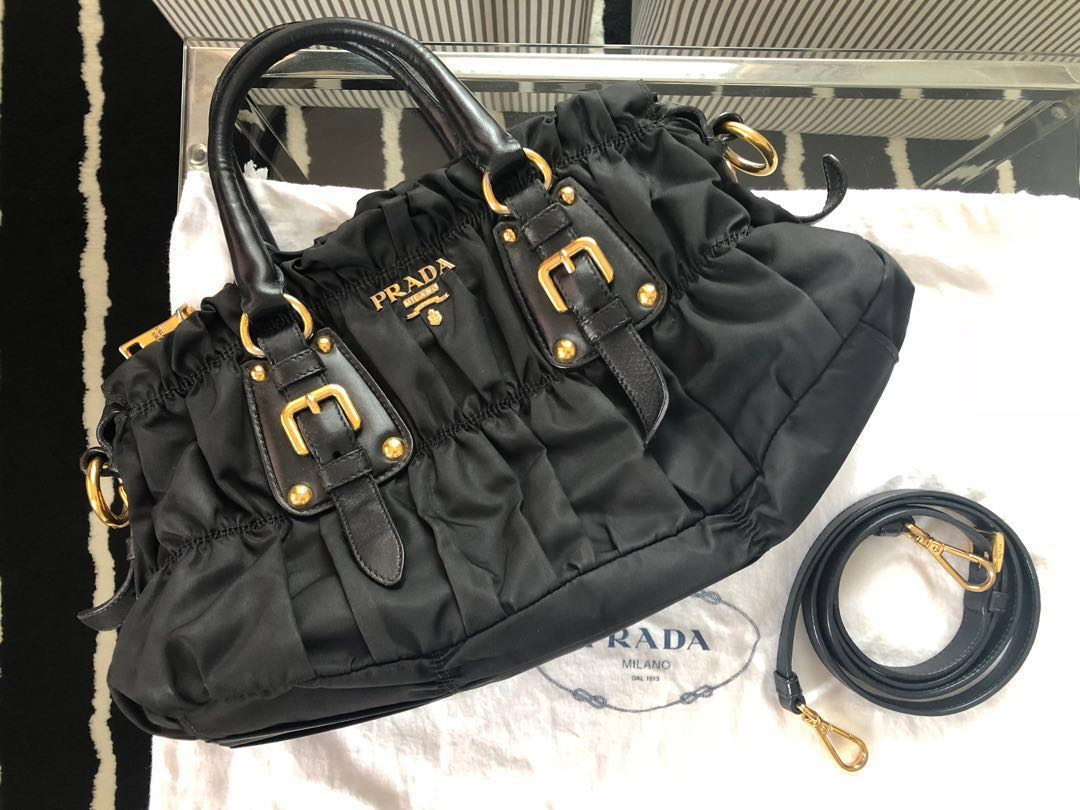 61ccf59bfff4 Prada Tessuto Gaufre Ruched Nylon Hobo, Luxury, Bags & Wallets ...