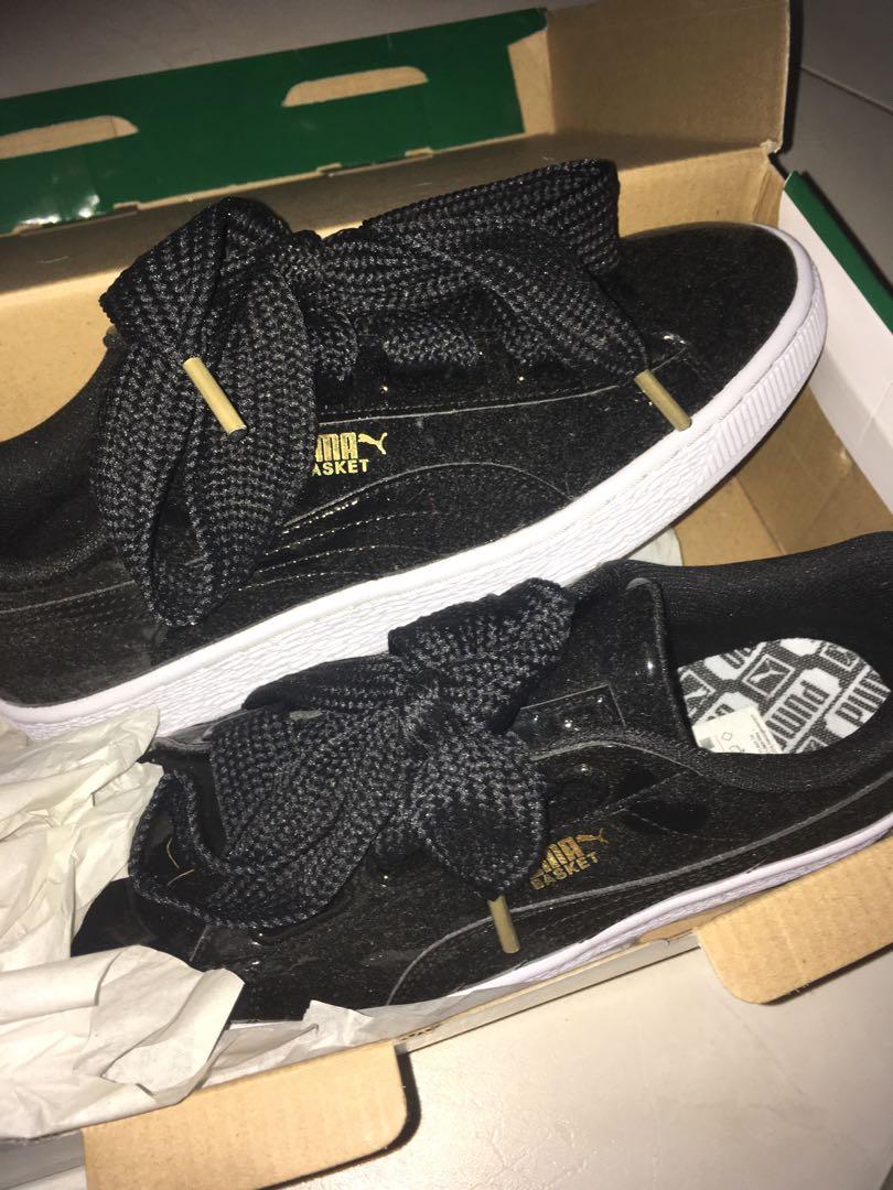 separation shoes 1ca98 68e39 Puma basket heart patent black