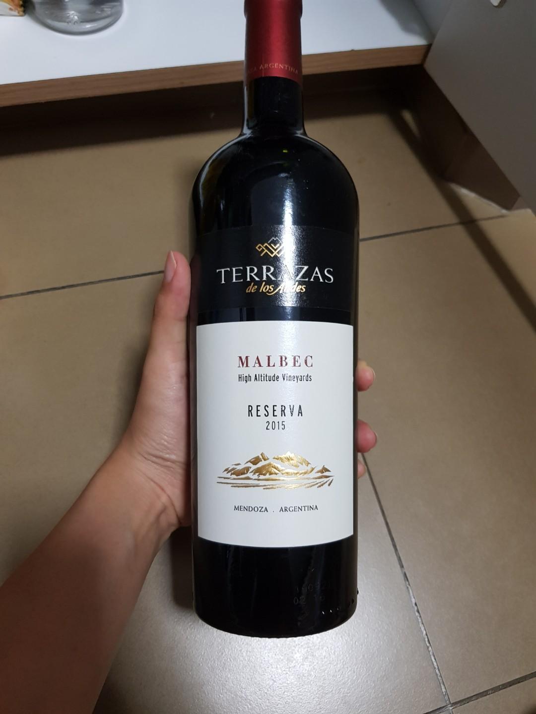 Red Wine Terras De Los Ande Reserva Malbec 2015 Food