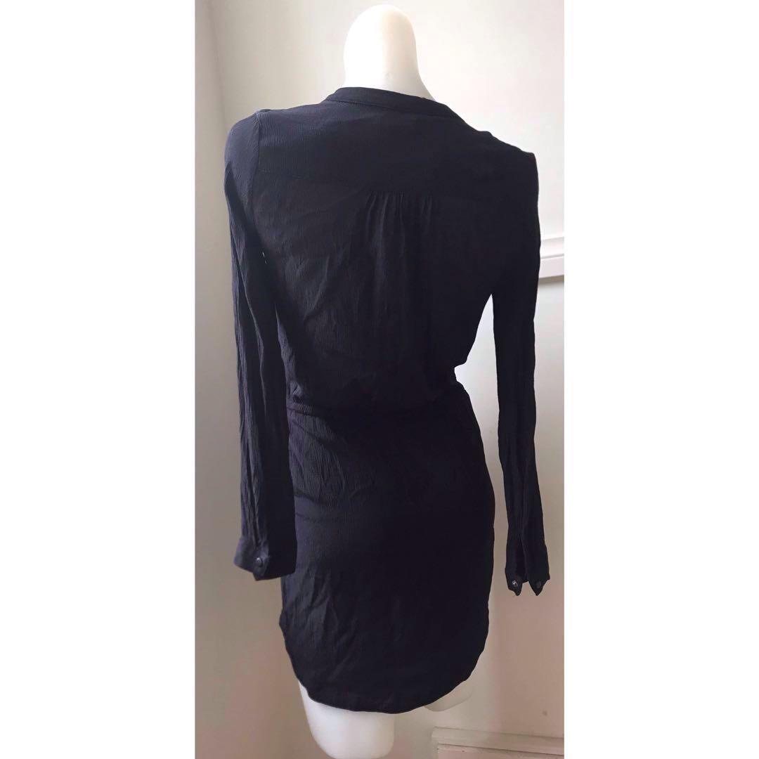 Size 6: MNG Black long sleeve beach kaftan with pockets