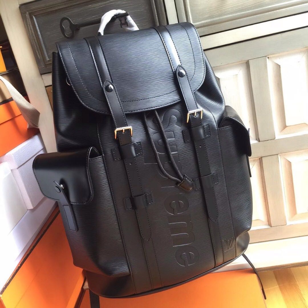 Supreme x Louis Vuitton Epi Leather Christopher PM Backpack Black ... 138a3df85b928
