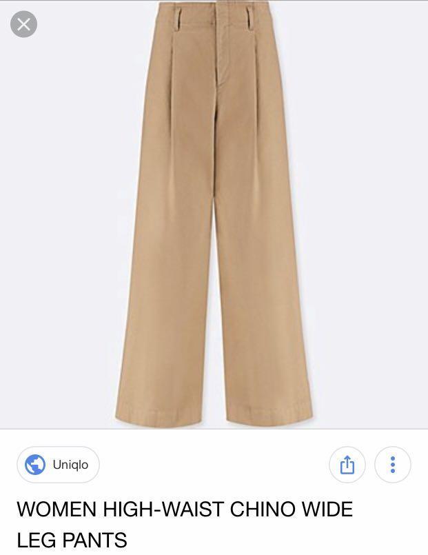 Uniqlo Chino High Waist Wide Leg Pants