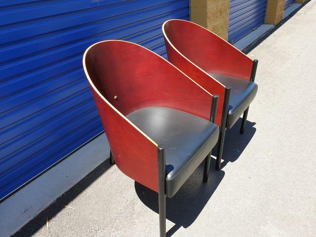 Vintage Wooden Leather Chairs