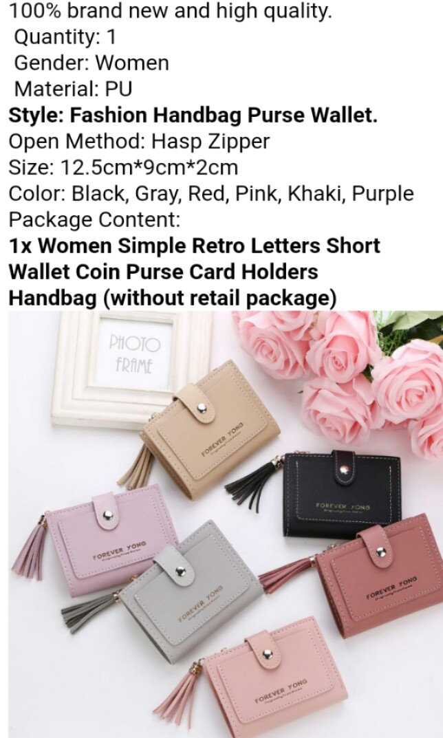 9d50fa2a0e0 Women Simple Retro Letters Short Wallet Coin Purse Card Holders ...