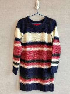 清屋 100% 正品 Authentic b+ab 紅白藍 針織 冷裙 冷衫 長上衣 38碼 Red White Blue stripe knitted one-piece dress Size 38 新舊如圖 As New Condition