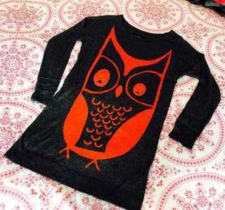 清屋 b+ab 深灰色 針織 寬身上衣 橙色 立體 貓頭鷹圖案 38碼 Dark Grey knitwear loose top with orange owl details Size 38 新舊如圖 As New