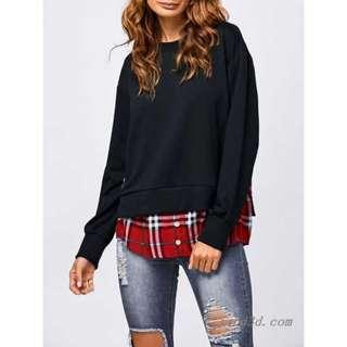 Long hoodie grid black sweater top dress