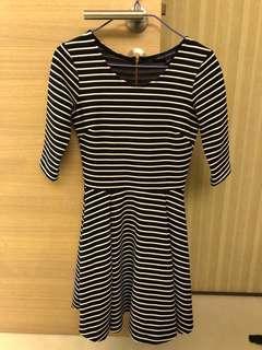 French Connection black & white dress 黑白 橫間 斯文裙
