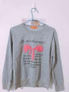 🚚 (二手)蝴蝶結🎀圖案灰色長袖上衣T恤
