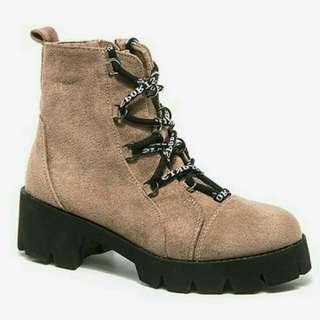 🌸 bn zaful khaki brown chunky heels boots