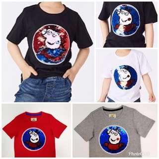 童裝 閃片變色 短袖棉質T恤 簡單的向上向下撥, 便可轉變圖案/顏色