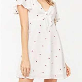 🚚 f21 front tie embroidery dress
