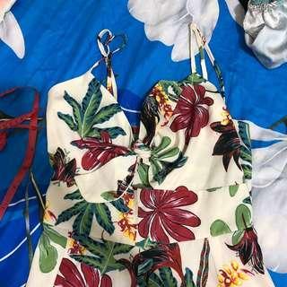🚚 floral tie front romper