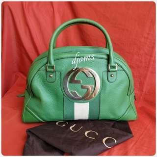 🛑Gucci Web Blondie Green Large Bowlers Bag