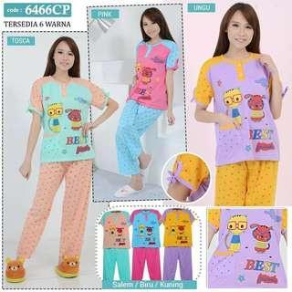 MAXIS Baju Tidur Atasan Lengan Pendek dan Celana Panjang 6466CP