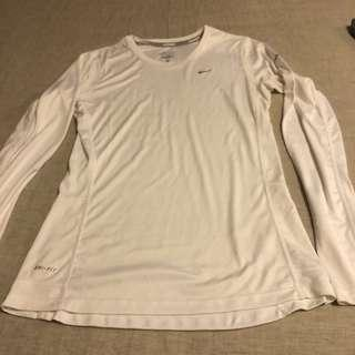 Nike White Athletic Top Long Sleeve Size Small
