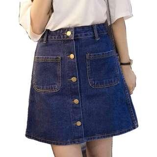 TEM Button Down Denim Skirt