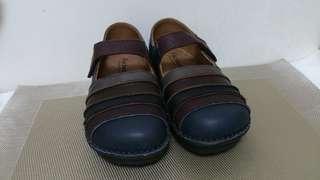 咖啡色皮革休閒鞋