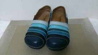 藍色系皮質休閒鞋