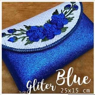 Clutch Sulam Glitter Bunga Biru / Silver / Pink