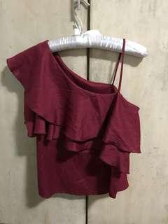 Maroon ruffle top one side