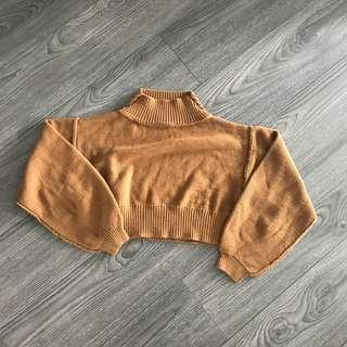 PLT Brown Cropped Jumper - Small