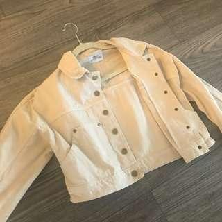 Urban Outfitters Cream Cropped Denim Jacket - Small