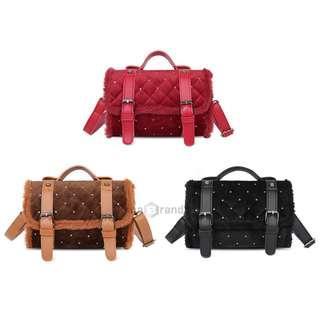 Fashion Suede Fluffy Side Rhombic Versatile Slung Shoulder Bag for Women