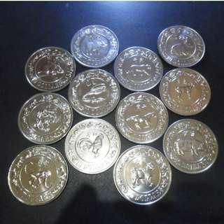 1981-1992 1st Series Lunar Zodiac Singapore Unc $10 Coin