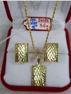 Saudi Gold Necklace Earrings Set CM027