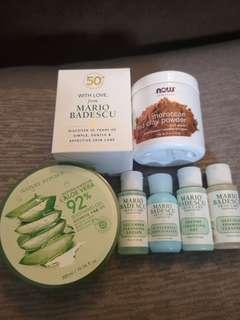 Skin care bundle (Aloe Vera Soothing Gel, Mario Badescu Sampler, Moroccan Red Clay Powder)
