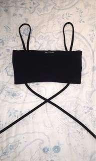 Black Strap Crop Top