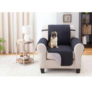 Water-resistant Quilted Reversible Chair Cover (Black/Grey)