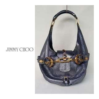 JIMMY CHOO Tulita Metallic Leather Hobo