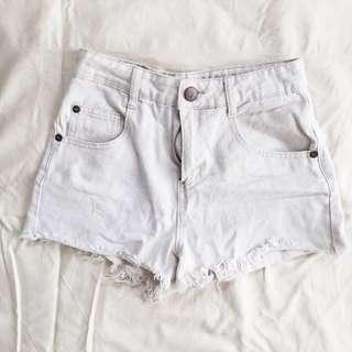 Frayed Hem White Booty Shorts
