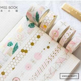 🚚 [PO] pink gold foiled washi tape