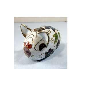 Hand crafted hand painted cloisonne pig made in Beijing