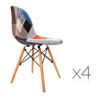 Eames Set of 4 Retro Beech Fabric Dining Chair – Multi Colour