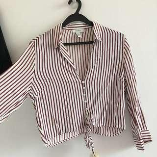 🚚 f21 red x white stripes button down long sleeve top