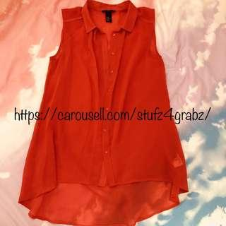 🚚 H&M Fire Hot Red Blouse Top