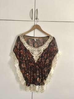 Brown Laced Boho Top