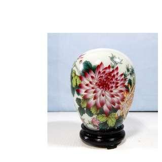Vintage Chinese porcelain vase chrysanthemum motif mid 1900s