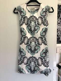 Aqua and Black Print Dress