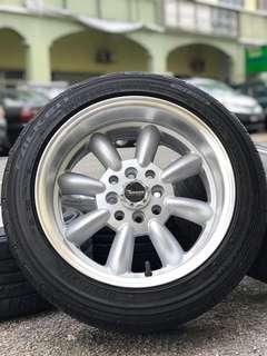 watanabe 15 inch sports rim proton iriz tyre 70%