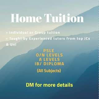 1-to-1 Home Tuition (affordable rates)