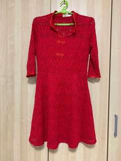🚚 Red cheongsam in lace