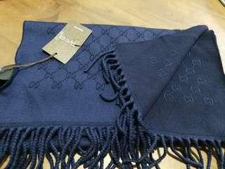 Bnwt Authentic Gucci Navy Wool Scarf