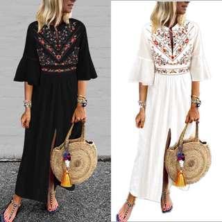 🚚 S-5XL Women High Waist Print Slit Front Long Dress